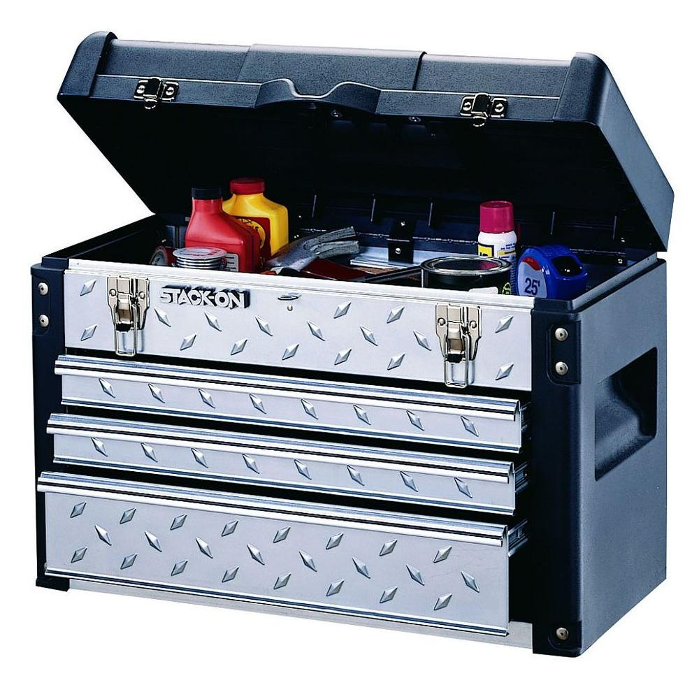 Stack-On 22 in. Tread Plate Tool Chest Black and Silver