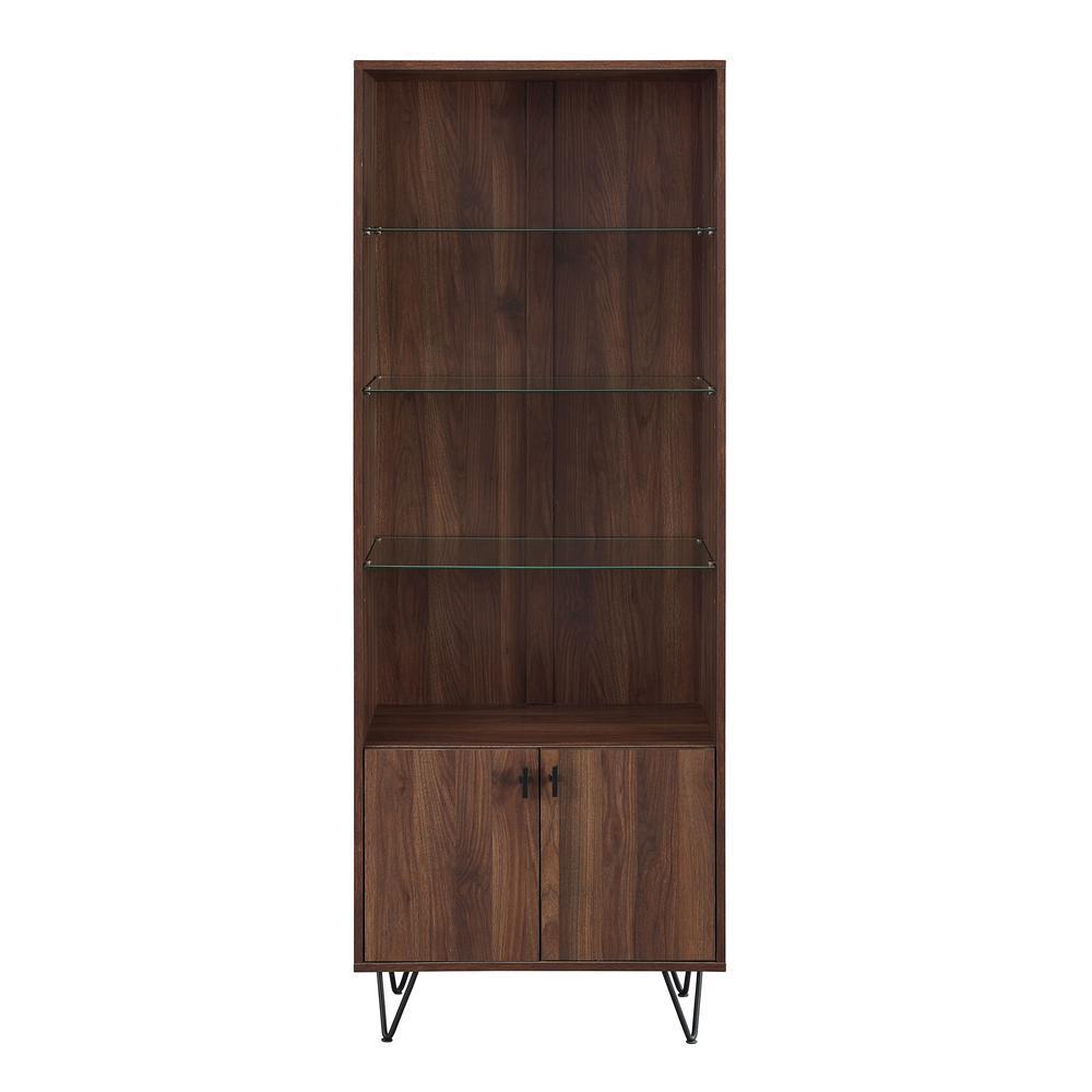 68 in. Dark Walnut Mid-Century Modern Storage Cabinet
