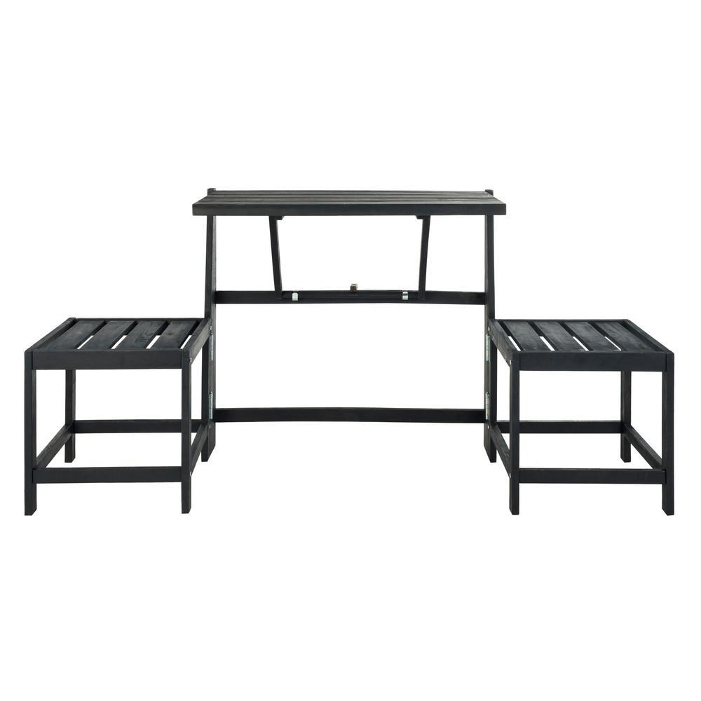 Belamy 2-Person Dark Slate Grey Wood Outdoor Bench