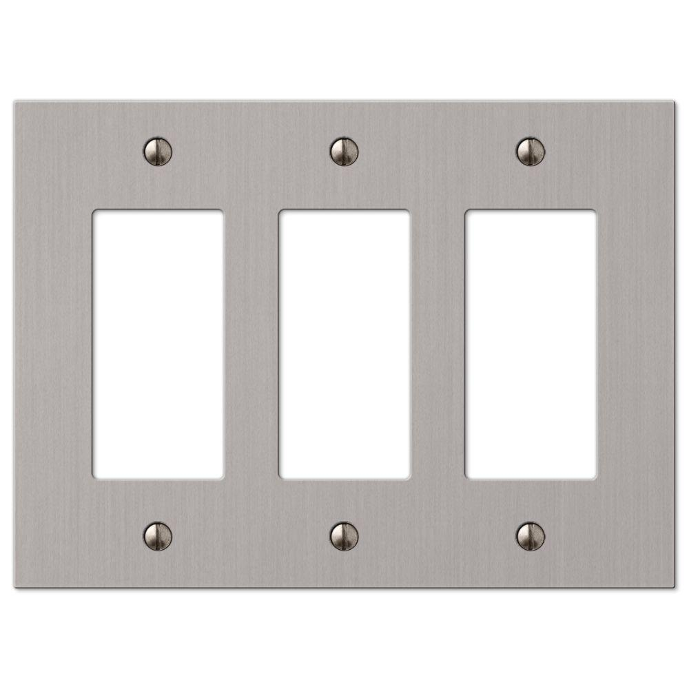 Hampton Bay Elan 3 Decorator Wall Plate   Brushed Nickel 55RRRBN   The Home  Depot