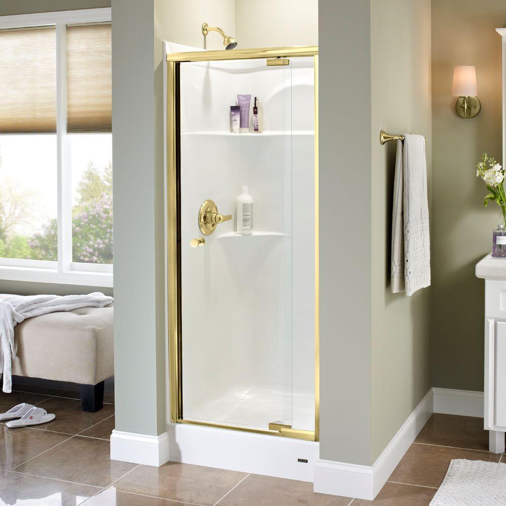 Delta Lyndall 31 in. x 66 in. Semi-Frameless Pivot Shower Door in Brass with Clear Glass