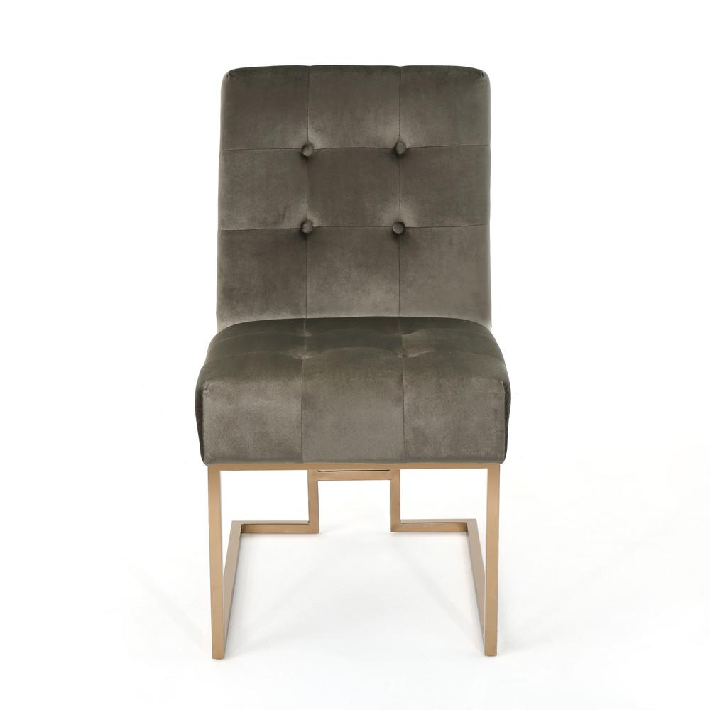 Noble House Barto Modern Button Back Gray Velvet Accent Chair 304356