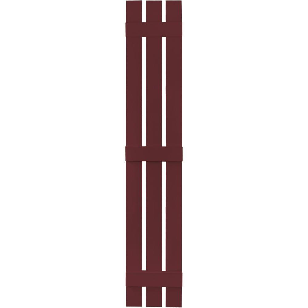 Builders Edge 12 in. x 75 in. Board-N-Batten Shutters Pair, 3 Boards Spaced #078 Wineberry