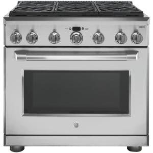 GE Cafe 36 inch 6.2 cu. ft. Gas Range with Self-Cleaning Professional Convection Oven in... by GE