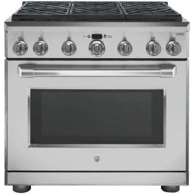 Cafe 36 in. 6.2 cu. ft. Gas Range with Self-Cleaning Professional Convection Oven in Stainless Steel