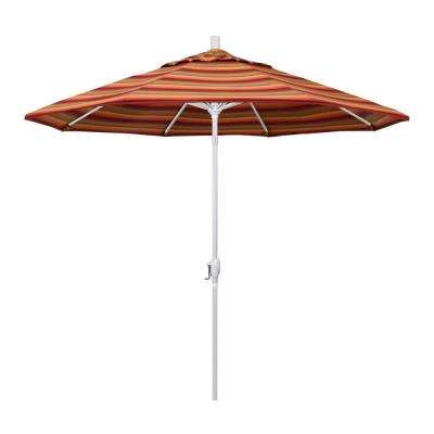 9 ft. Matted White Aluminum Push Button Tilt Crank Lift Market Patio Umbrella in Astoria Sunset Sunbrella