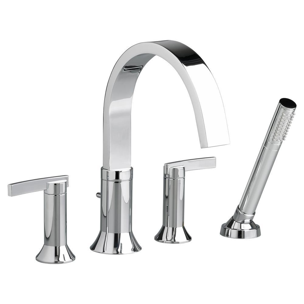 American Standard Berwick 2-Handle Deck-Mount Roman Tub Faucet with Hand Shower for Flash Rough-in Valves in Polished Chrome