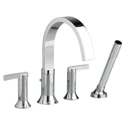 Berwick 2-Handle Deck-Mount Roman Tub Faucet with Hand Shower for Flash Rough-in Valves in Polished Chrome