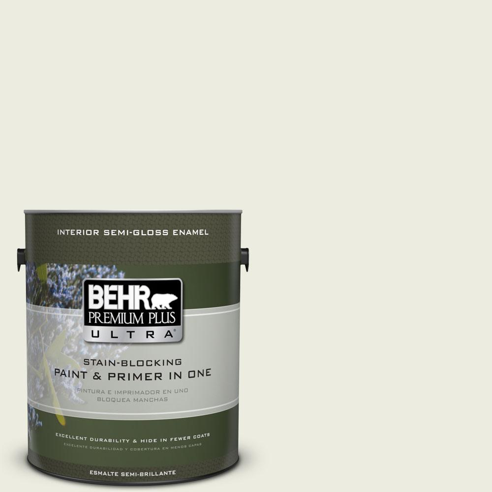BEHR Premium Plus Ultra 1-gal. #420E-1 Hemlock Bud Semi-Gloss Enamel Interior Paint, Greens