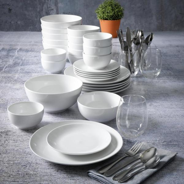 All You Need 60 Piece Casual White Ceramic Dinnerware Set Service For 6 124326 60r The Home Depot