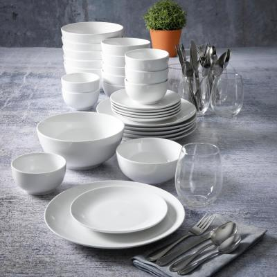 All You Need 60-Piece Casual White Ceramic Dinnerware Set (Service for 6)