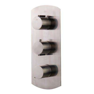 3-Handle Shower Mixer with Leek Modern Design in Brushed Nickel