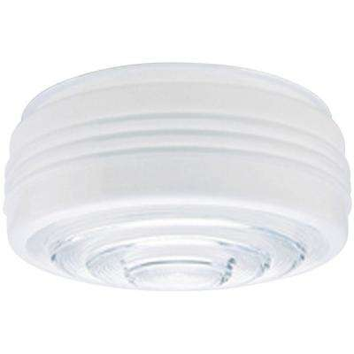 4 in. White and Clear Drum Shade with 8 in. Fitter and 8-3/4 in. W