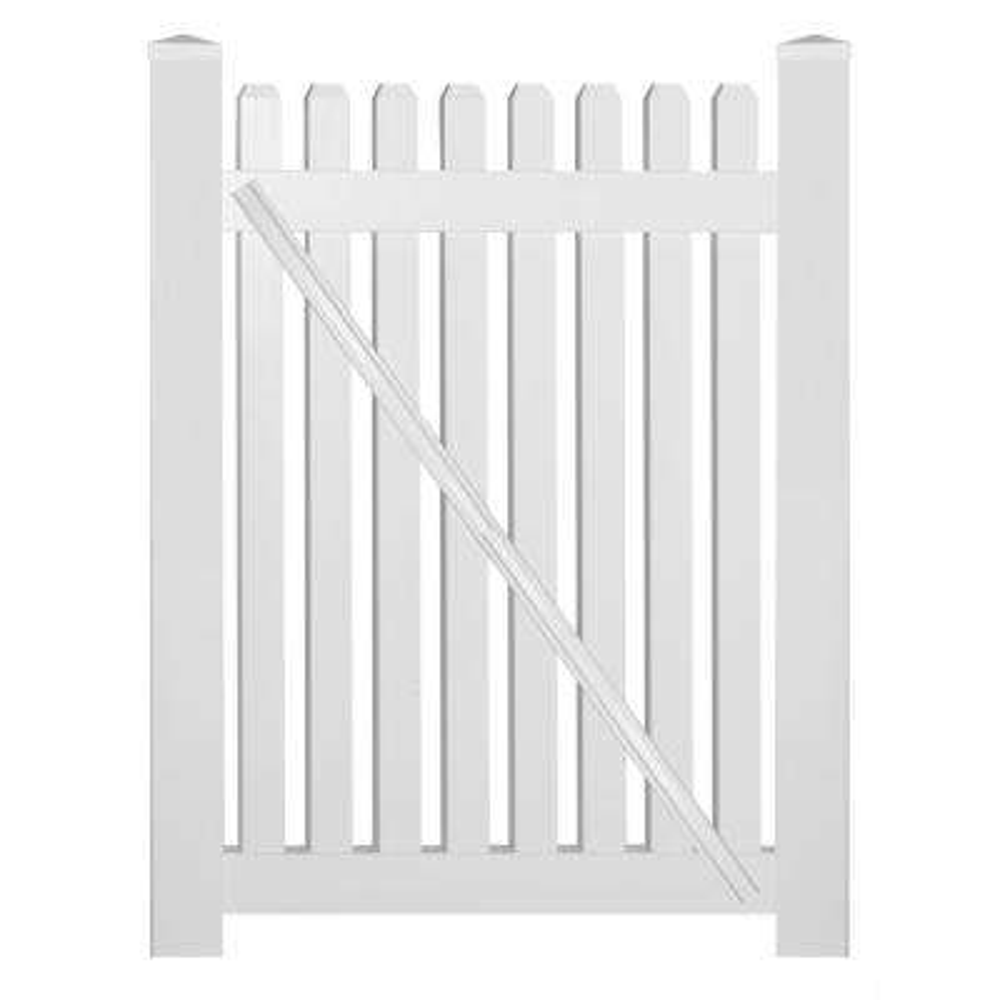 Provincetown 4 ft. W x 4 ft. H White Vinyl Picket Fence Gate Kit