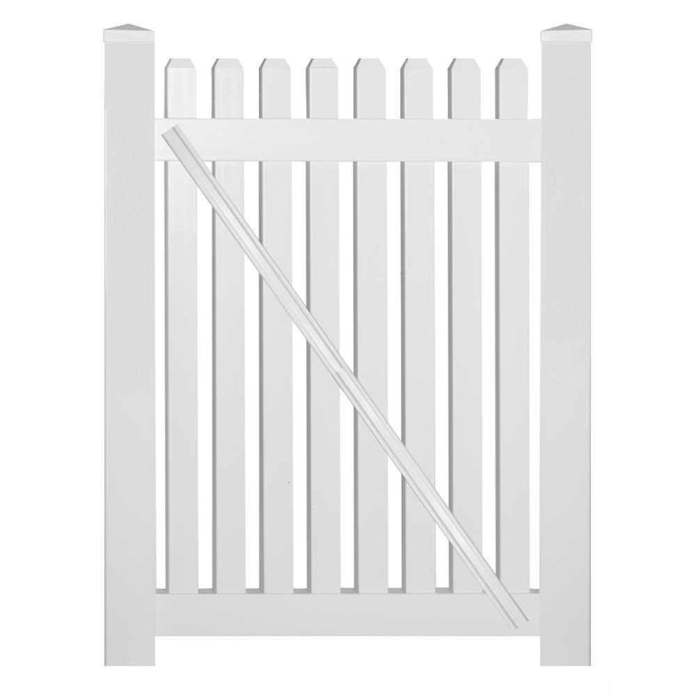 Provincetown 4 ft. W x 5 ft. H White Vinyl Picket Fence Gate Kit