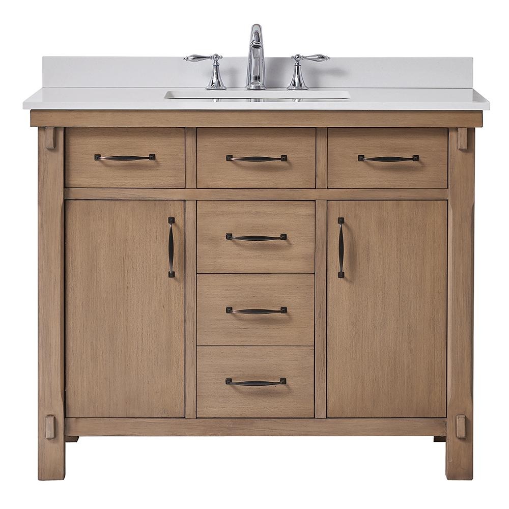 Bellington 42 in. W x 22 in. D Vanity in Almond Toffee with Marble Vanity Top in White with White Sink