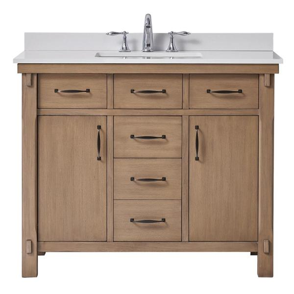 Home Decorators Collection Bellington 42 In W X 22 In D Vanity In Almond Toffee With Marble Vanity Top In White With White Sink Bellington 42 The Home Depot