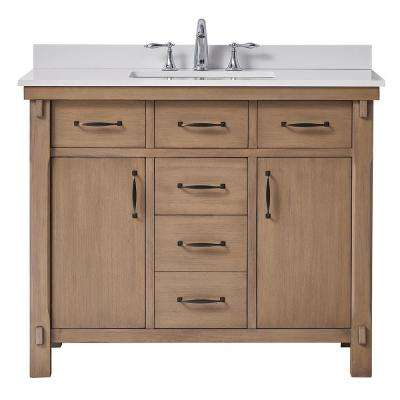 Bellington 42 in. W x 22 in. D Vanity in Almond Toffee with Marble Vanity Top in White with White Basin