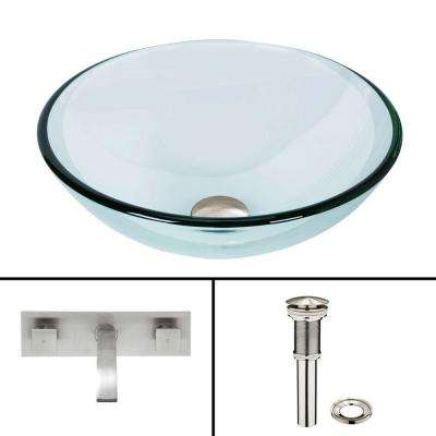 Glass Vessel Sink in Crystalline with Titus Wall-Mount Faucet Set in Brushed Nickel