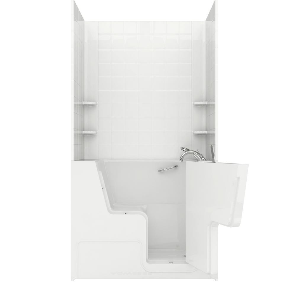 Universal Tubs Wheelchair Accessible 4.5 ft. Walk-in Whirlpool and Air Bathtub with 6 in. Tile Easy Up Adhesive Wall Surround in White