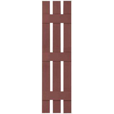 12 in. x 88 in. Lifetime Vinyl Custom Three Board Spaced Board and Batten Shutters Pair Burgundy Red