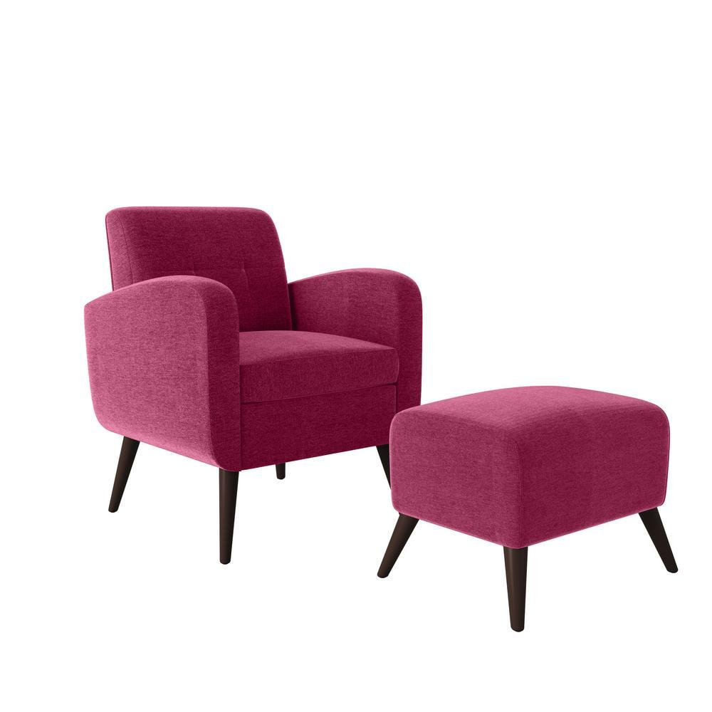 Metro Fuchsia Pink Plush Low-Pile Velvet Arm Chair and Ottoman Set