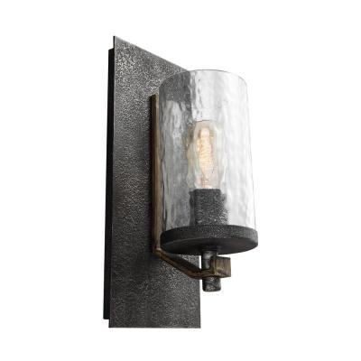 Angelo 5.5 in. W. 1-Light Distressed Weathered Oak/Slated Grey Metal Wall Sconce with Clear Thick Wavy Glass