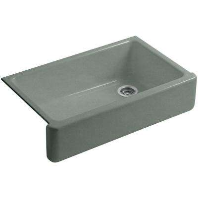 Whitehaven Farmhouse Apron-Front Cast Iron 36 in. Single Basin Kitchen Sink in Basalt