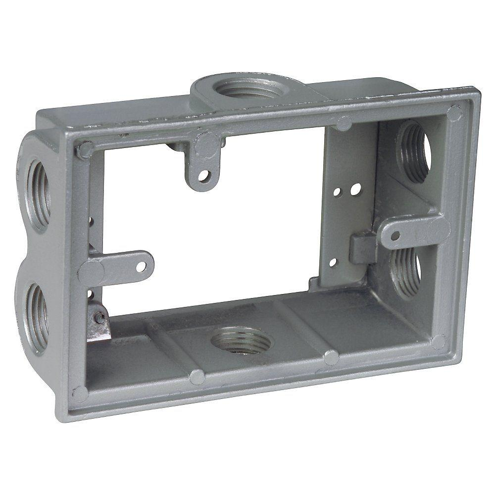 2-Gang Flanged Electrical Box Extension with 6 1/2 in. Holes -