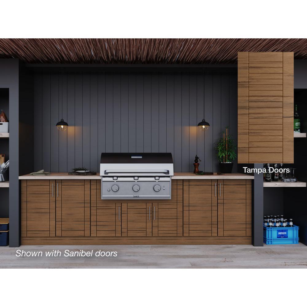 Tampa Teak 17-Piece 121.25 in. x 34.5 in. x 28 in. Outdoor Kitchen Cabinet Set