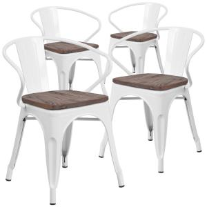 White Restaurant Chairs Set Of 4