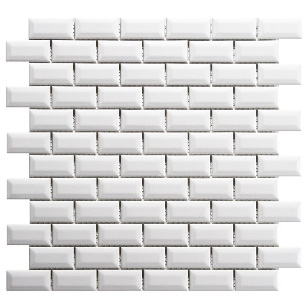Merola Tile Metro Subway Beveled Glossy White 12 in. x 12 in. x 5 mm ...
