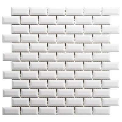 Metro Subway Beveled Glossy White 12 in. x 12 in. x 5 mm Porcelain Mosaic Tile (10 sq. ft. / case)