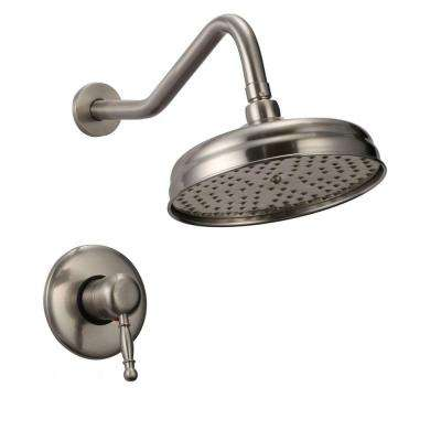 Caius 1-Handle Large Rainfall Shower Faucet in Brushed Nickel (Valve Included)