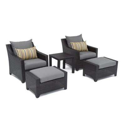 Deco 5-Piece Patio Chat Set with Charcoal Grey Cushions