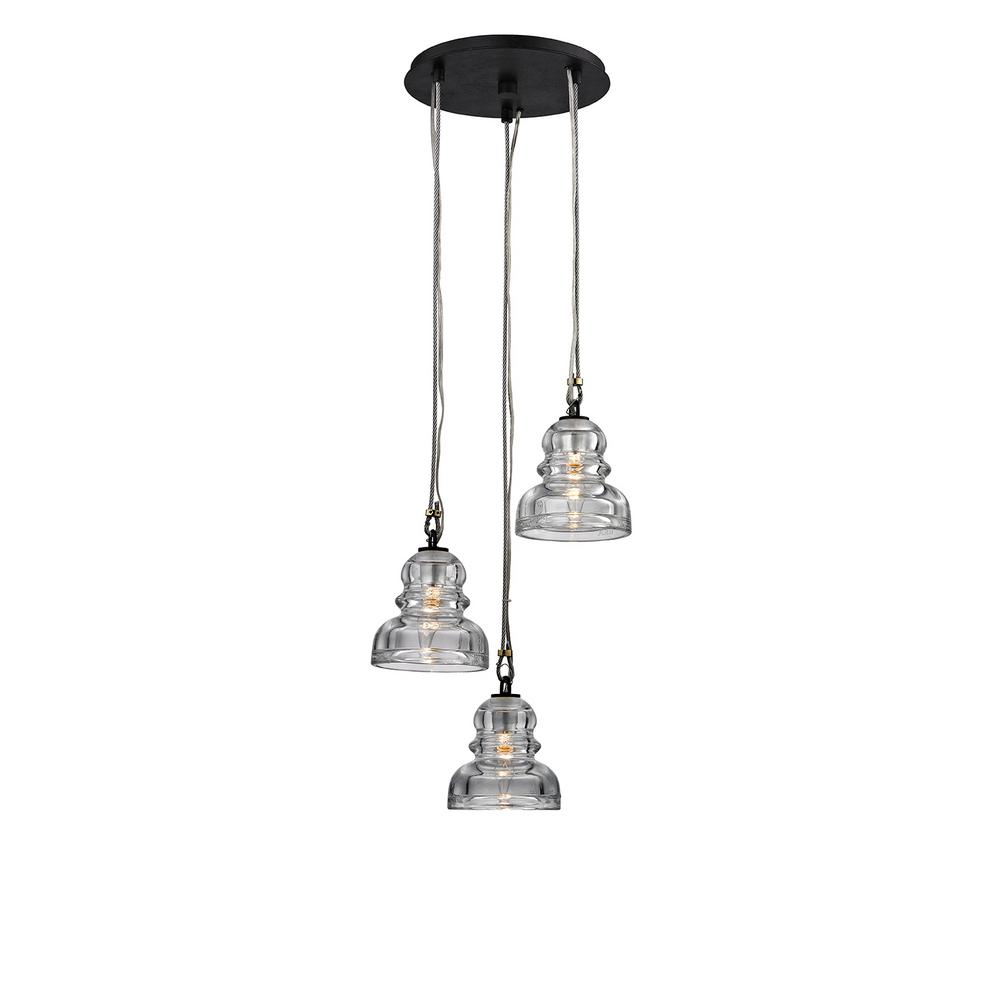 Troy Lighting Menlo Park 3 Light Deep Bronze Cer Pendant With Historic Clear Pressed Gl