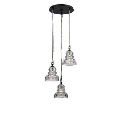 Menlo Park 3-Light Deep Bronze Cluster Pendant with Historic Clear Pressed Glass Shade