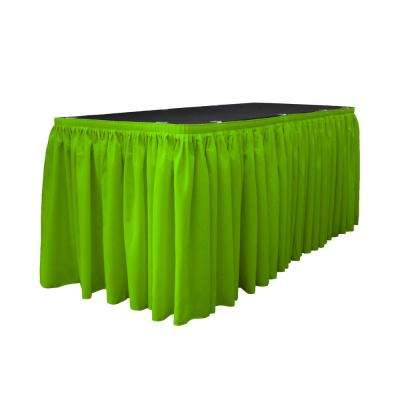 14 ft. x 29 in. Long Lime Polyester Poplin Table Skirt with 10 L-Clips