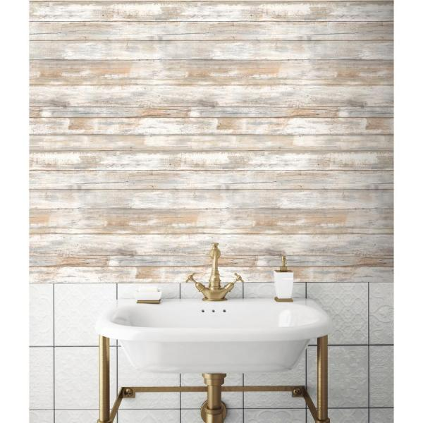 Roommates 28 18 Sq Ft Distressed Wood Peel And Stick Wallpaper