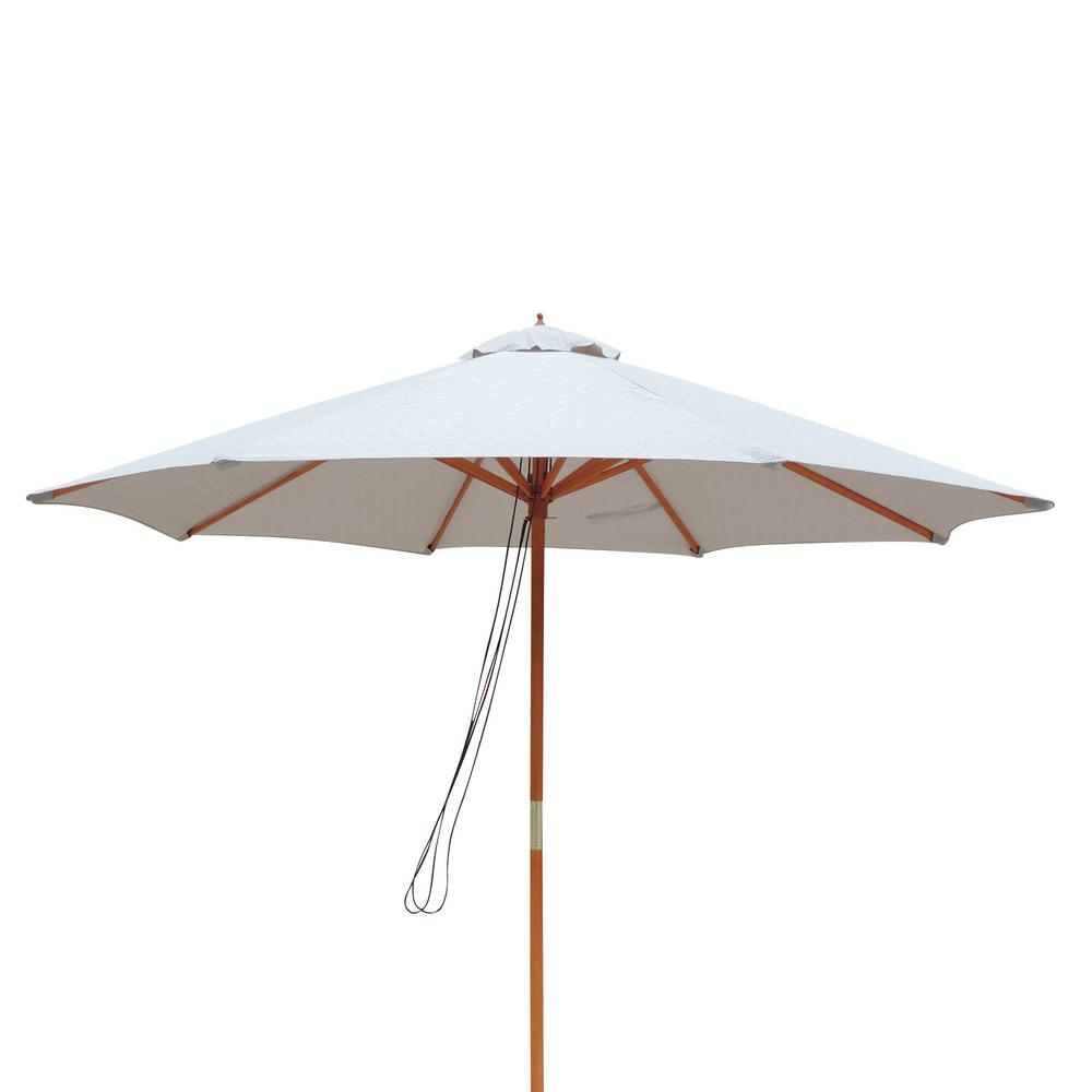 Island Umbrella Tranquility 9 ft. Hardwood Market Umbrella with Weather-Resistant Champagne Olefin Canopy, Wind Vent