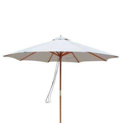Tranquility 9 ft. Hardwood Market Umbrella with Weather-Resistant Champagne Olefin Canopy, Wind Vent
