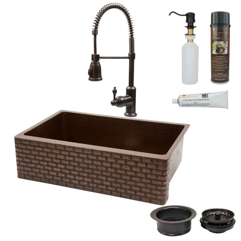 Premier Copper Products All-in-One Farmhouse Apron-Front Copper 33 in. 0-Hole Single Basin Kitchen Sink with Tuscan Design in Oil Rubbed Bronze