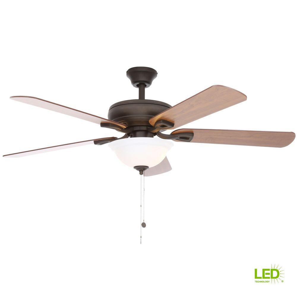 Hampton Bay Rothley 52 in. LED Oil-Rubbed Bronze Ceiling Fan with ...