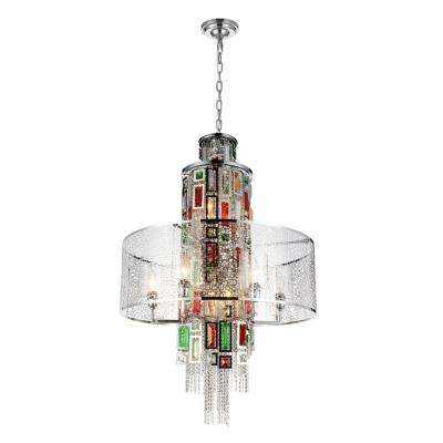Stained 11-Light Chrome Chandelier