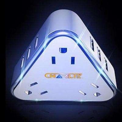 3-Outlet Super USB Charger with 9-USB Ports and LED Night Light