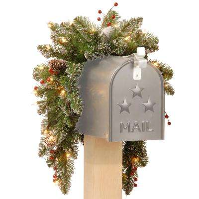 36 in. Glittery Mountain Spruce Mailbox Swag with Battery Operated Warm White LED Lights