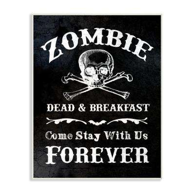 """10 in. x 15 in. """"Zombie Bed and Breakfast"""" by Daphne Polselli Printed Wood Wall Art"""