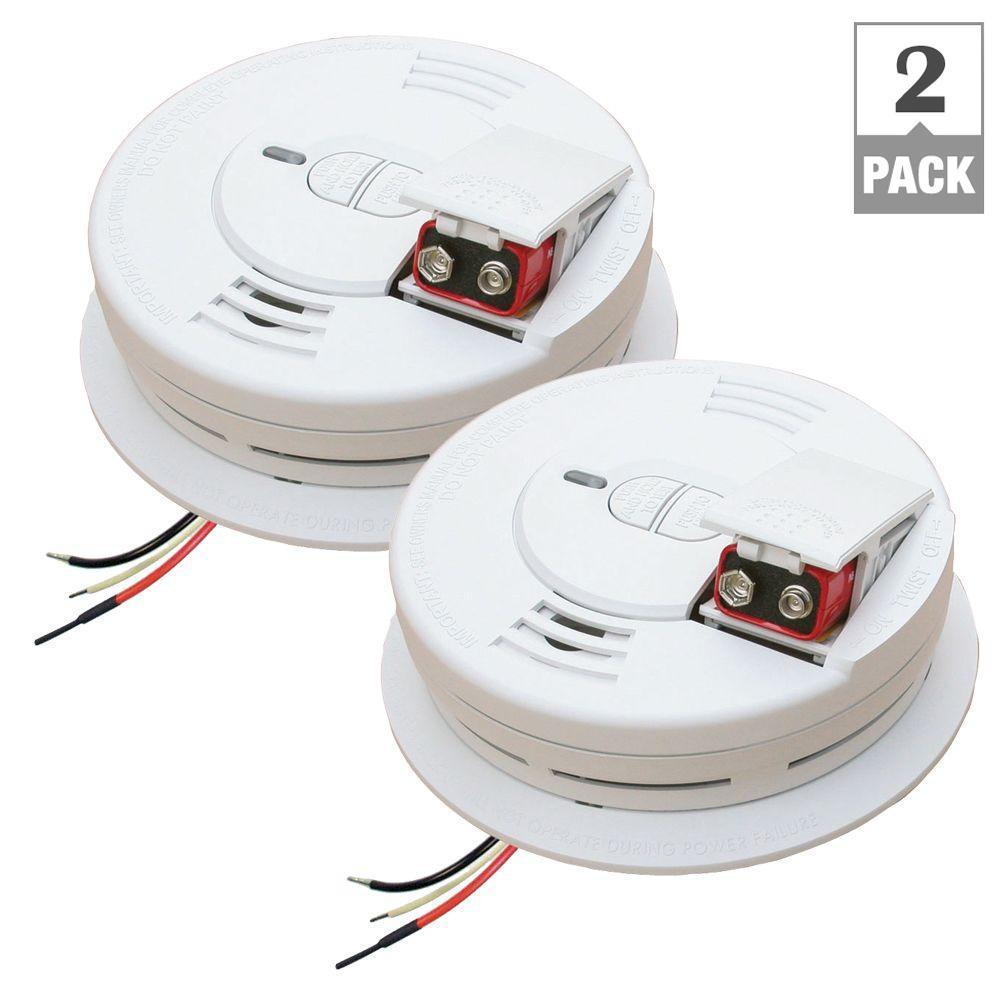 120V Hardwire Smoke Alarm Front Load Battery (2 Pack)