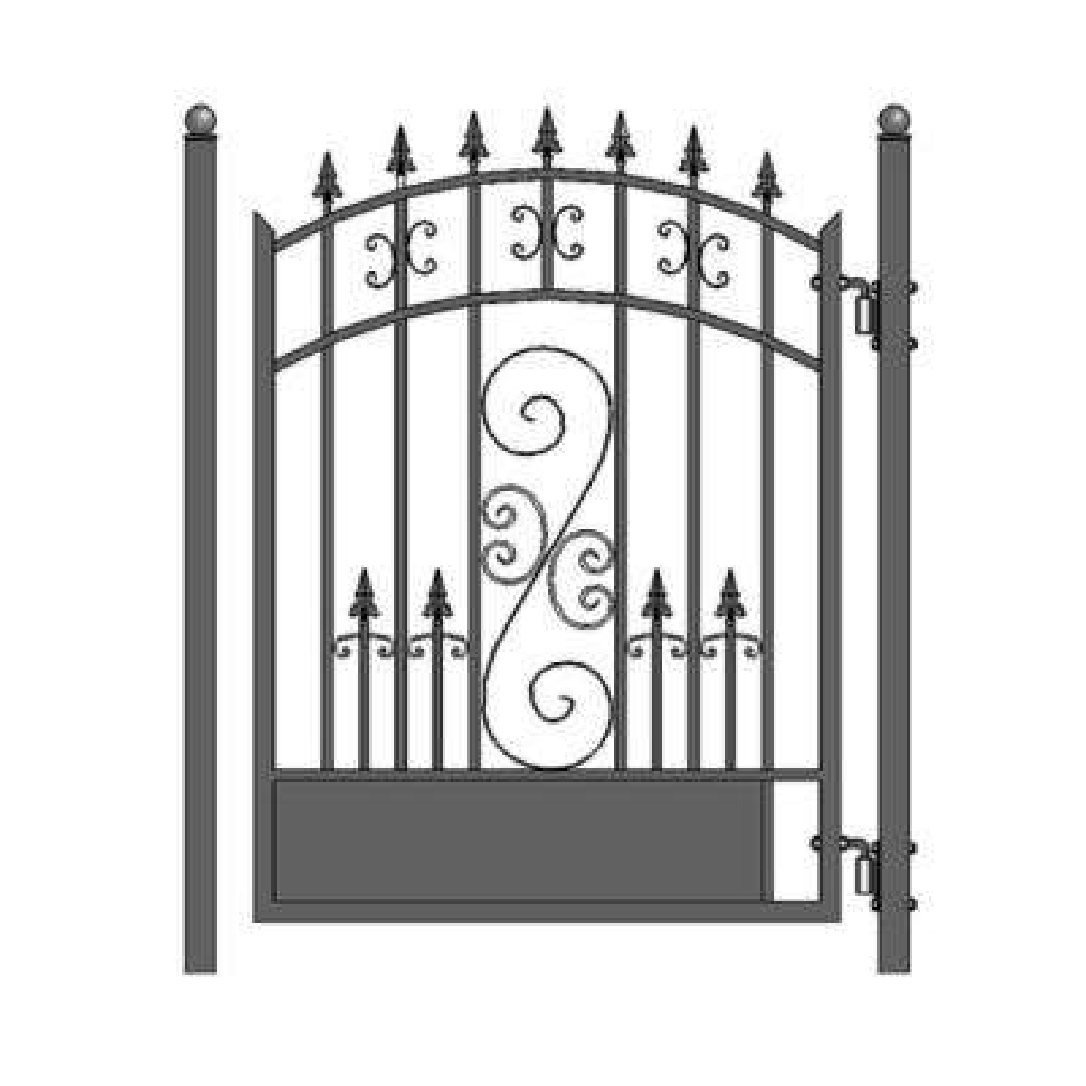 Venice Style 4 ft. x 5 ft. Black Steel Pedestrian Fence Gate