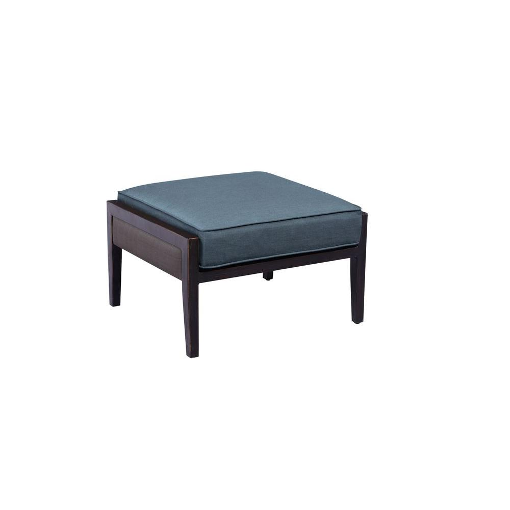 Greystone Patio Ottoman With Denim Cushion    CUSTOM